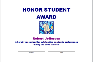 Honor Student Award Template
