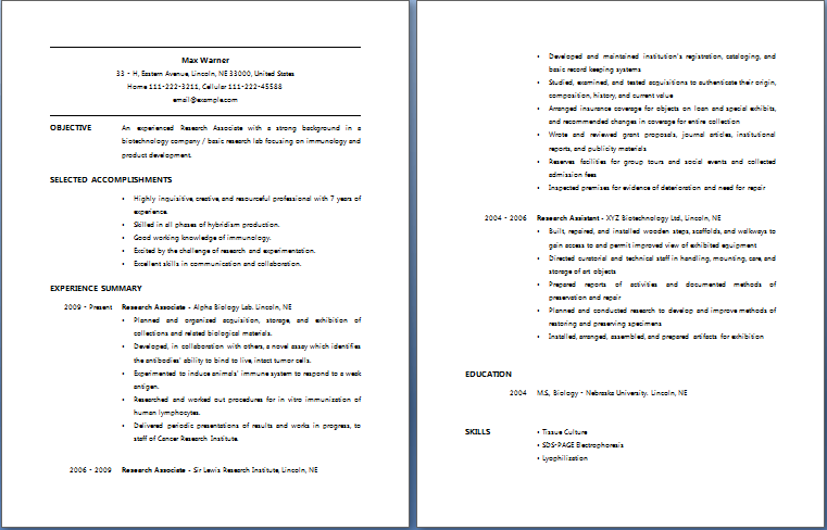 Research Associate Resume | Free Layout & Format