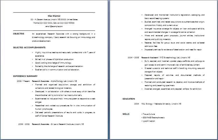 research associate resume free layout format