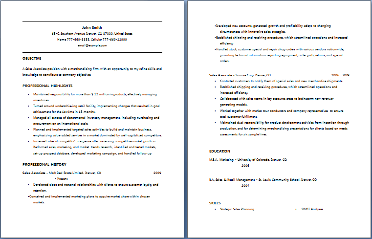 Sales Associate Resume  Sale Associate Resume