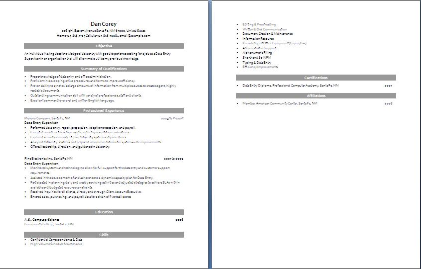 data entry operator resume word free download data entry operator - Data Entry Resume
