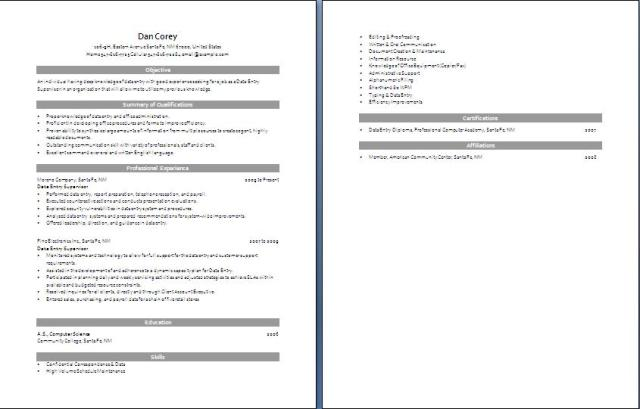 Data Entry Resume data entry resume 5 Data Entry Resume Free Layout Format