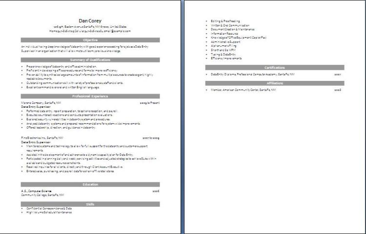 Data Entry Resume  Blue Layouts