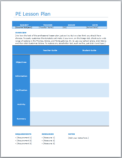 Physical Education Lesson Plan Template Blue Layouts - Lesson plan template for pe