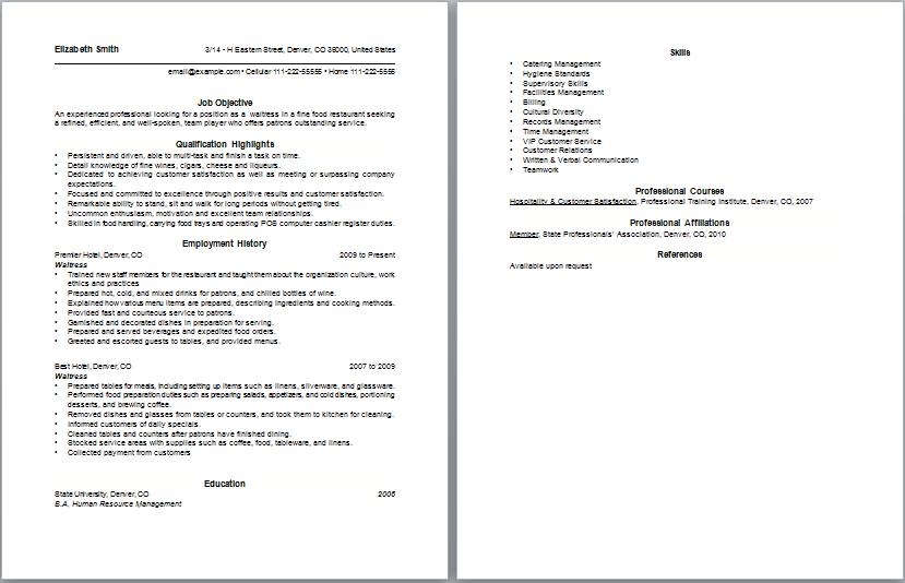 waitress job resume Loran – Waiter Resume Samples