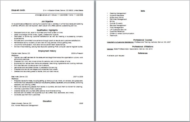 Waitress Resume – Waitress Resumes