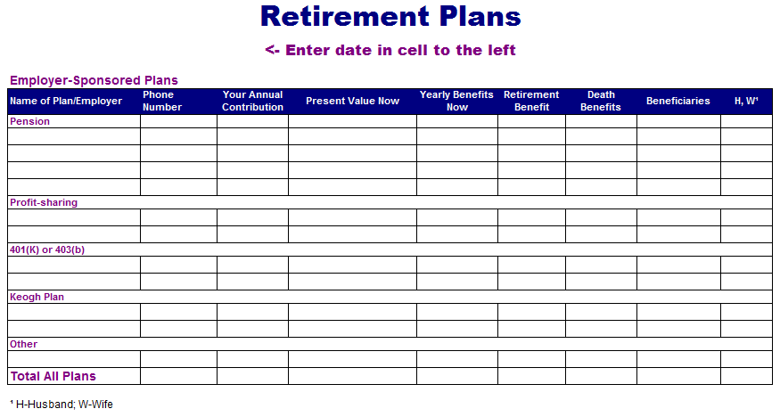 retirement planning spreadsheets