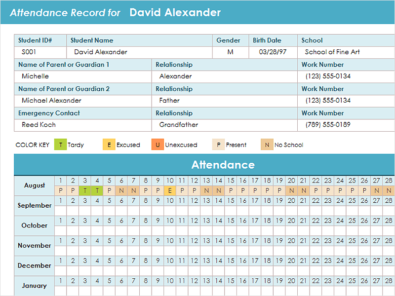 Attendance Tracking Template – Sample Attendance Tracking