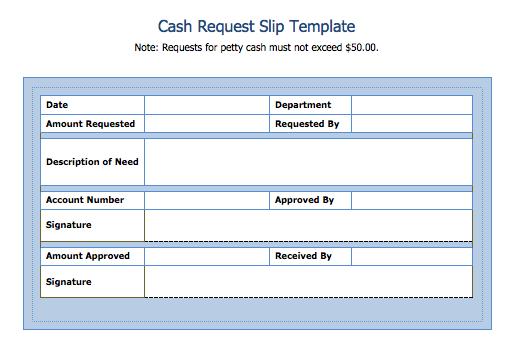 Cash Request Slip Template – Cash Slip Template