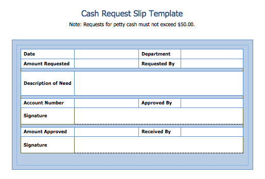 cash slip Cash Request Slip Template - Blue Layouts
