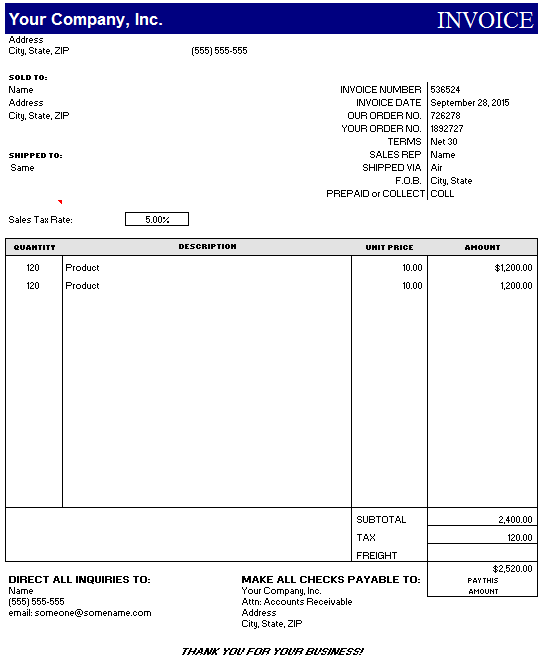 Product Invoice Template 06