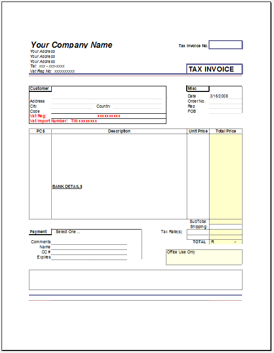Product Invoice Template 10