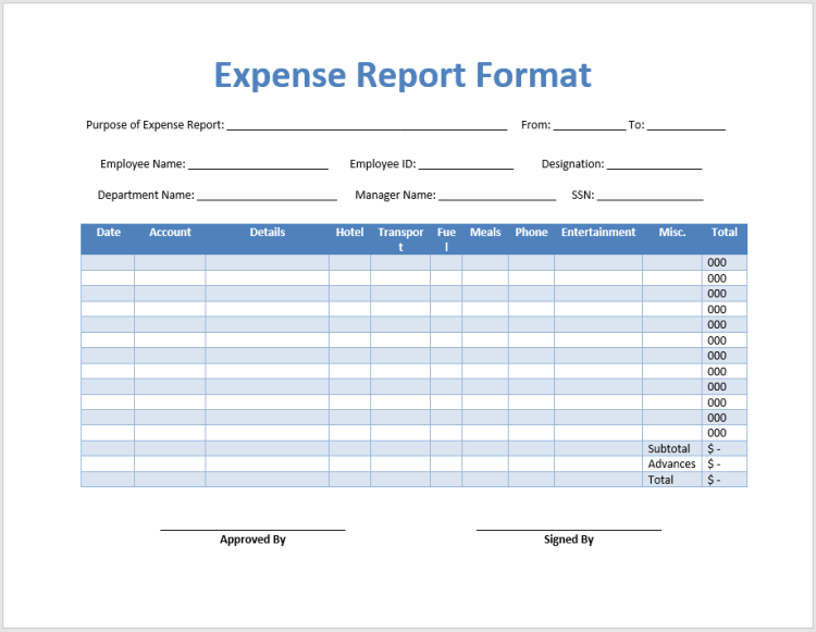 35 Free Printable Expense Report Templates Blue Layouts