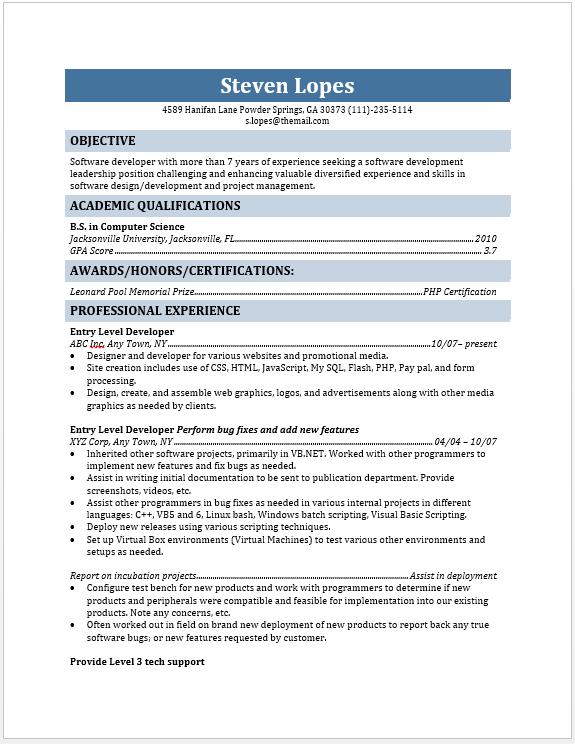 entry level web developer resume - Web Development Resume