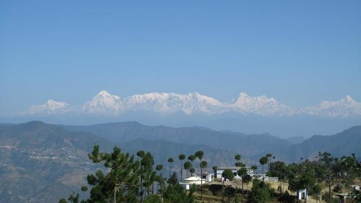 Tall trees and a small town on the edge of mountain with the rugged himalayas far in the distance - Kasar Devi