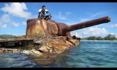 Sherman, wrak czołgu z czasów bitwy o Saipan