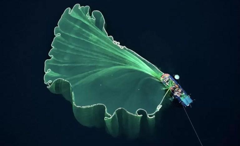 Zdobywca drugiego miejsca, za sieci rozrzucane przez rybaka w Wietnamie fot.: Dronestagram / Trung Pham