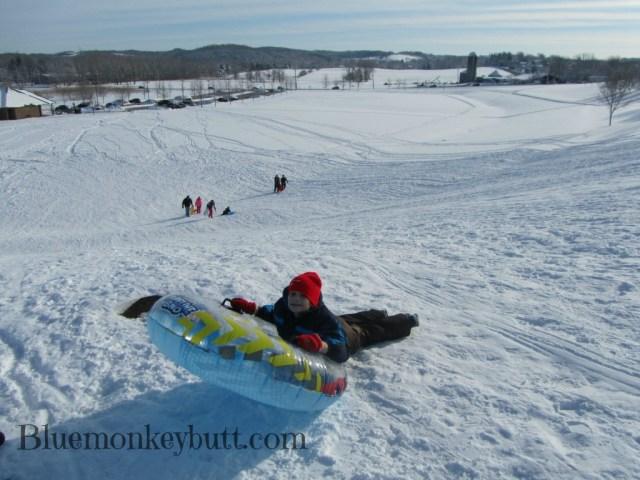 snow tubing at the park
