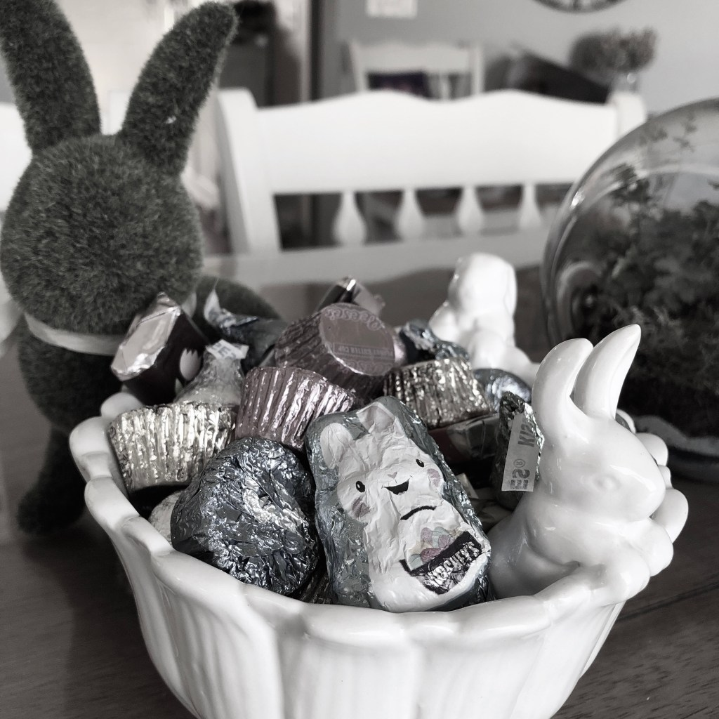 Social Distancing Easter Bunny candy jar with chocolate