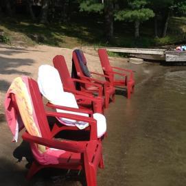 red beach chairs