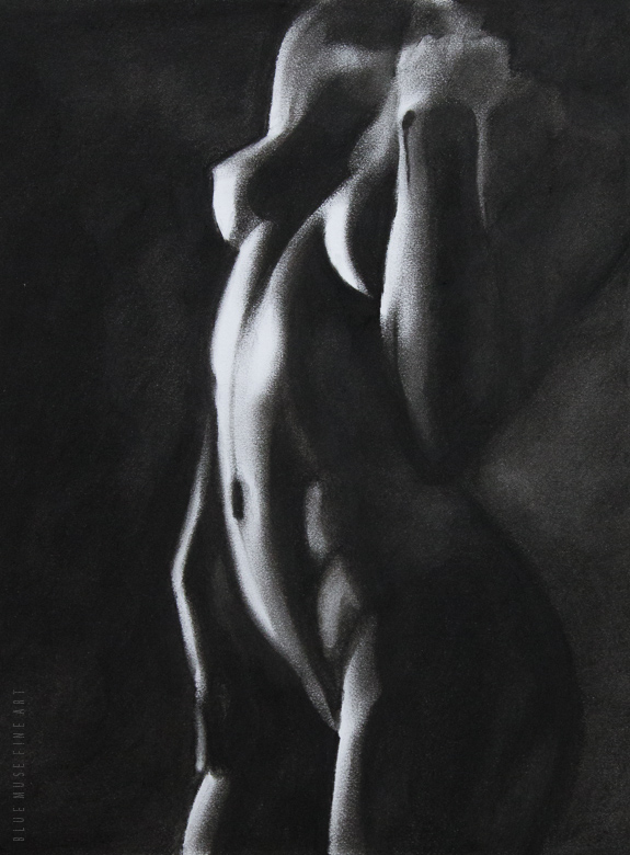 Between Worlds (charcoal drawing)