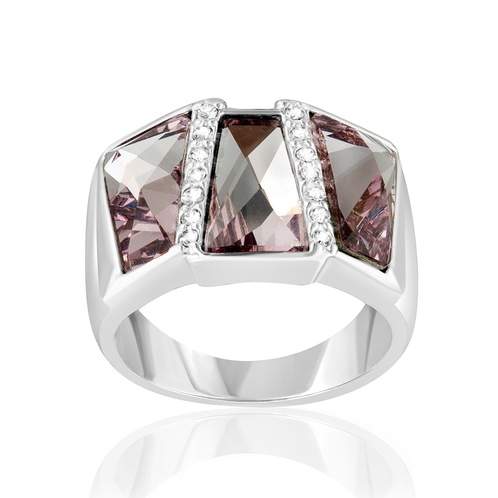 Bague Rectangle En Cristal De Swarovski Elements Rose