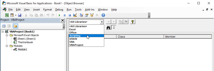 Select the Scripting Library
