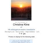 Datebook : Christina Kline : Photography show @ Wintergreen Nature Foundation : Sept 1st