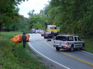 The Accident Scene On Oak Ridge Road Just After 8 AM Friday Morning : NCSD Photo