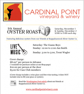 Oyster Roast This Weekend At Cardinal Point Winery : Nov 1st & 2nd