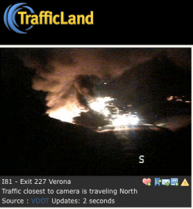 A screenshot from the scene via Trafficland.com at exit 227 on I-81 NB just before 7PM EST