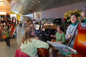 The Afton Amblers play to folks indoors.