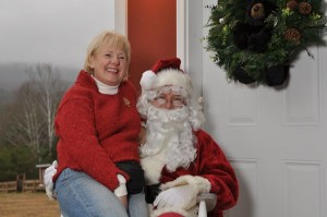 Barbara Funke, owner of MountainSide, says you're never too old to sit on Santa's lap!