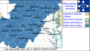Latest Watch area from The NWS as of 12 noon Monday.