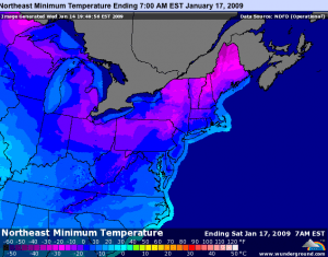 Projected minimum temperatures for the NE U.S by early Saturday morning. Map courtesy of www.wunderground.com