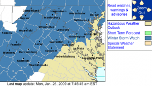 Winter Storm Watch Areas highlighted in dark blue via NWS.