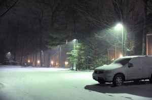 Photos By Paul Purpura : ©2009 NCL Magazine : By 9 PM Monday night about 3 and 1/2 inches of new snow had fallen at Wintergreen while the valley saw only rain.