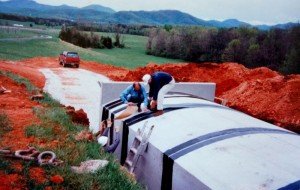 Photo Couttesy of AMV : Construction of the underground wine barrell room in the mid 1990's.