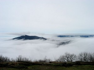 ©2009 NCL Magazine : Photo By Marshall Forbes : Clouds cover the valley below as seen from Devil's Knob Overlook : Wintergreen, Virginia