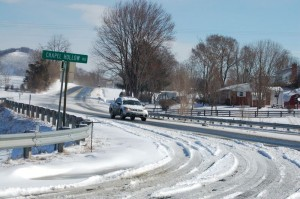 ©2009 NCL Magazine : Roads in Nelson County, Virginia are slowly clearing with sunshine and VDOT crews doing their part.