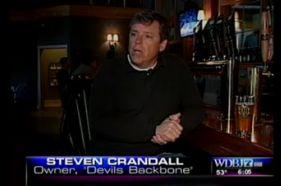 Crandall being interviewed by Tim Saunders of WDBJ TV in Roanoke, VA