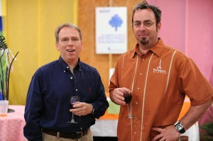 Did we mention the wine? Thought so. Jeff Stone of Wintergreen Winery, (right) enjoys the fruits of his own labor!