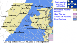 The frost advisory area highlighted in blue via the NWS. The advisory is in effect from 2AM Friday until 10AM Friday. Click for larger view.