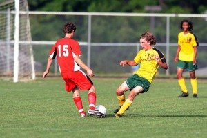 Photos By Paul Purpura : ©2009 NCL Magazine : Austin Truslow with the Nelson County High Schools Govs gives it all he's got at Wednesday evening's game against GM. Click on any photo to enlarge.