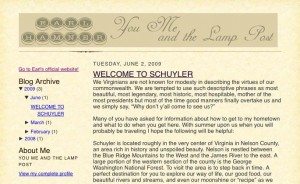 ©2009 earlhamner.com : A screen grab from Earl Hamner's most recent post about his days in Nelson County, Virginia