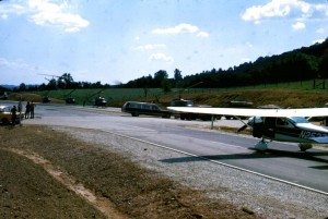 Photo By Brower York : ©1969-2009 : www.nelsoncountylife.com : Photographer Brower York captures this shot in 1969 of a landing strip set up on Route 29 to render aid to victims of Hurricane Camille.