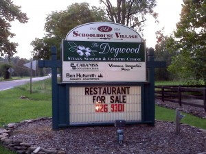©2009 www.nelsoncountylife.com : The sign in front of The Dogwood Restaurant in Nellysford, Virginia
