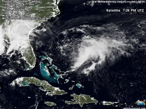 Image courtesy of wunderground.com and NASA : Click on image in post for latest position of Danny.