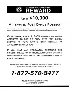 Click on image to see greater detail. The poster with reward details concerning the recent attempted robbery of a postal clerk in Piney River, Virginia