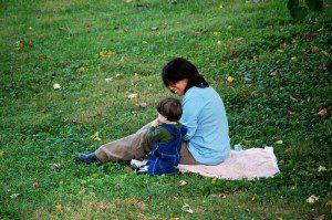 Adam and mom, Yvette, taking a break in the yard.